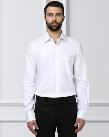Raymond Men White Cotton Slim Fit Shirt