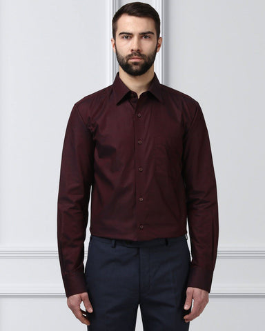 Raymond Men Maroon Cotton Slim Fit Shirt
