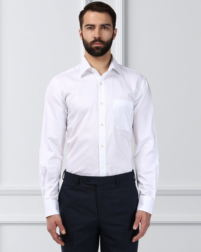 Raymond Supima Men White Slim Fit Shirt