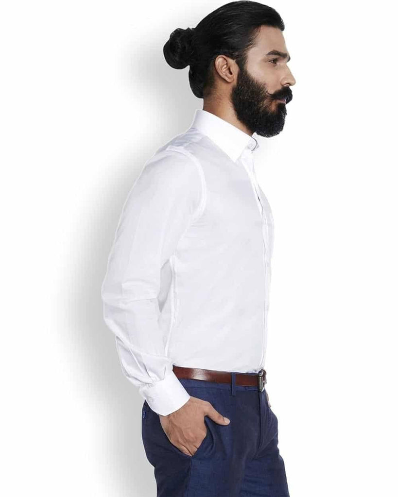 Raymond Silk White Solid  Shirt