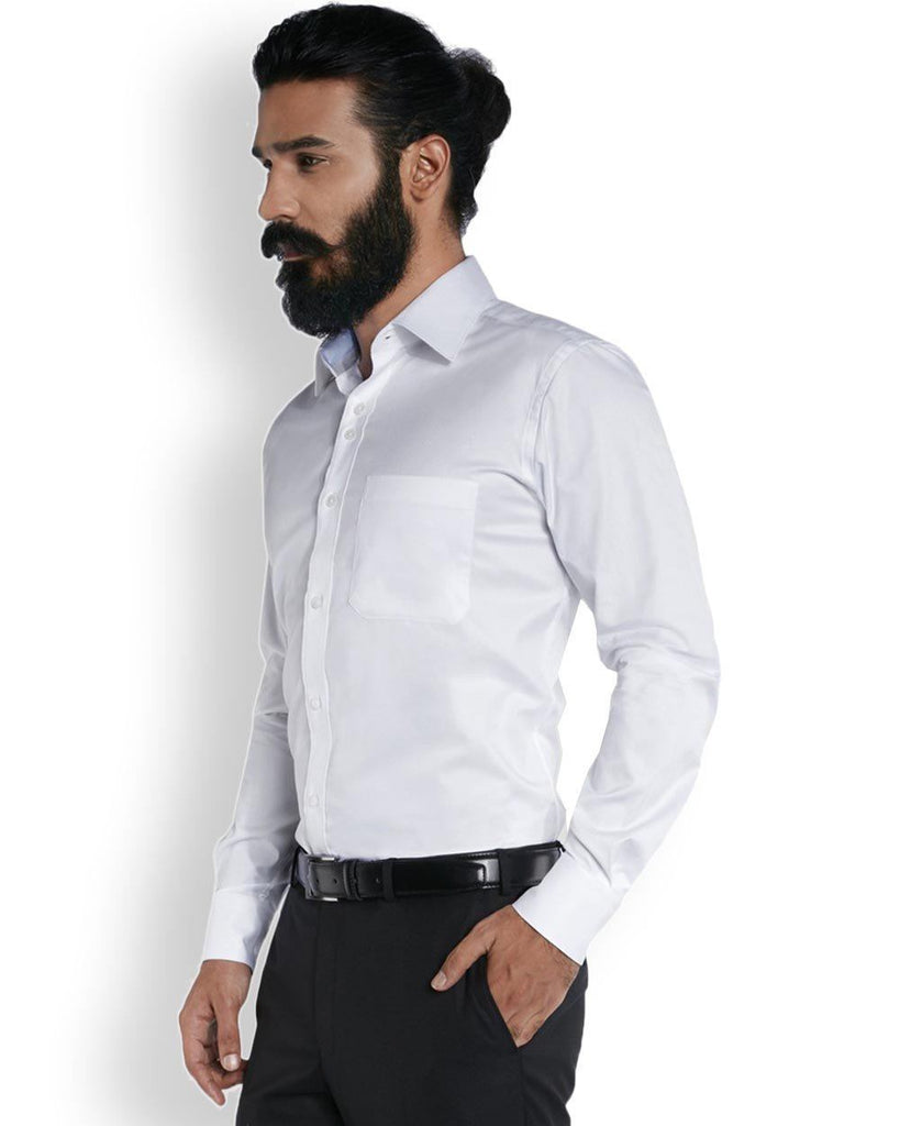 Raymond Pristine White  Stylized Dobby Base Superfine Cotton Shirt Shirt