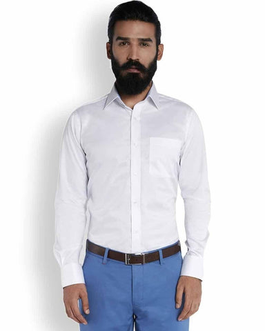 Raymond Pristine White  Stylized Superfine Cotton Shirt Shirt