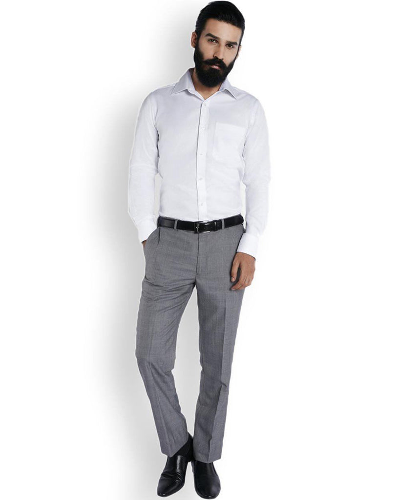 Raymond Pristine White  Self-Textured Superfine Cotton Shirt Shirt