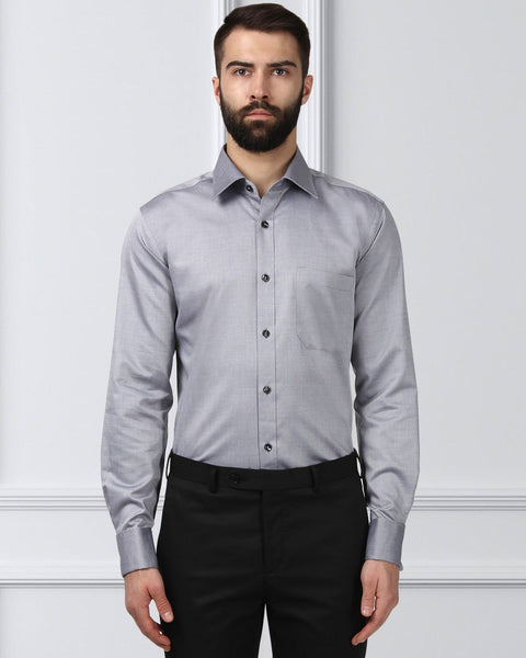 Raymond Men Grey Cotton Contemporary Fit Shirt