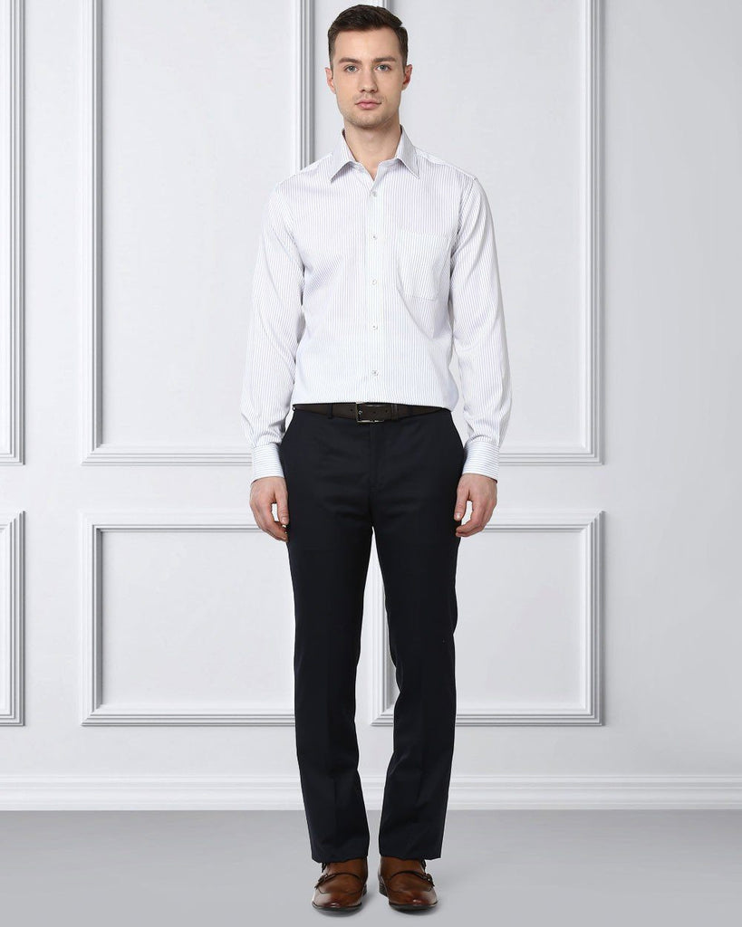 Raymond Supima Grey Slim Fit Shirt