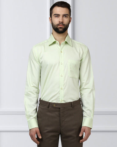 Raymond Men Green Cotton Contemporary Fit Shirt