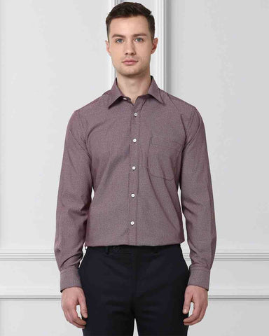 Raymond Men Red Cotton Contemporary Fit Shirt