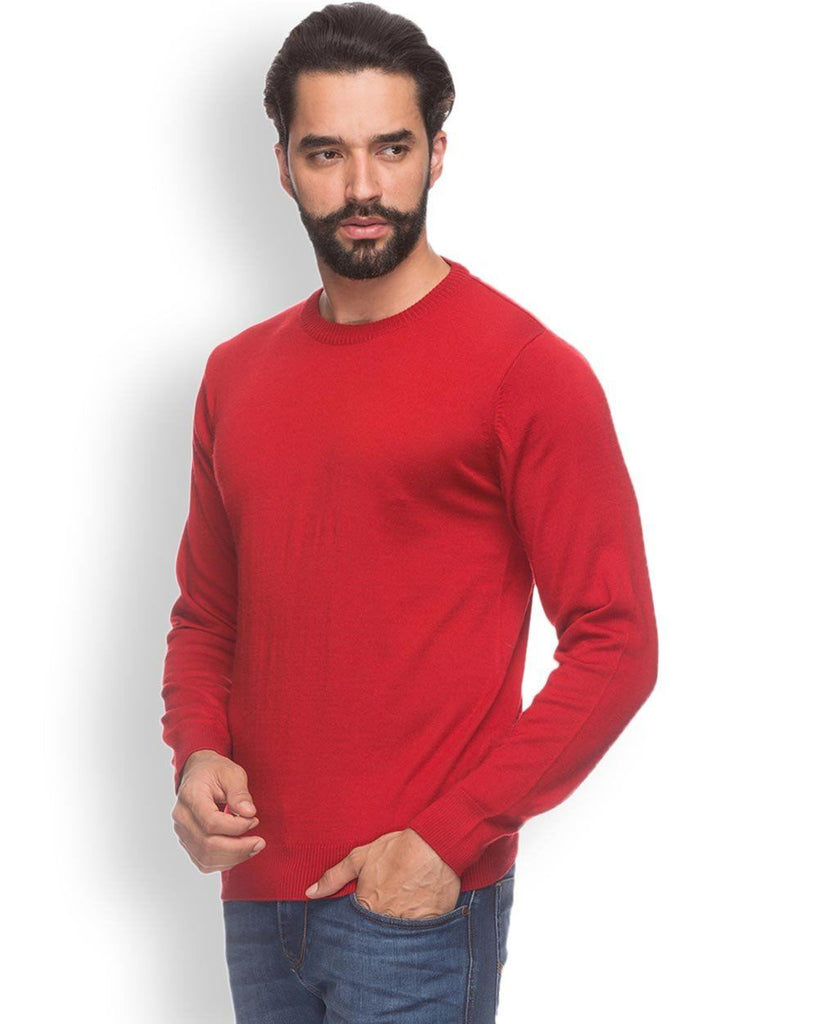 Raymond  Red Solid Sweater