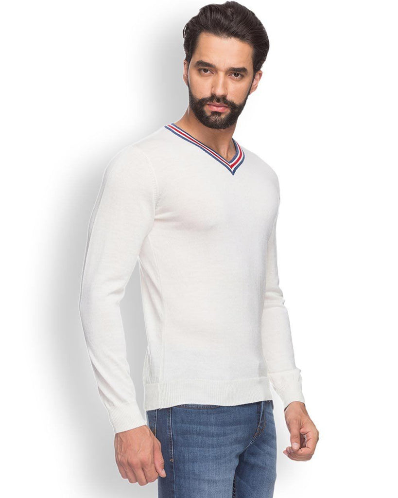 Raymond  White Solid Sweater