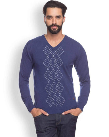 Raymond  Blue Printed Sweater