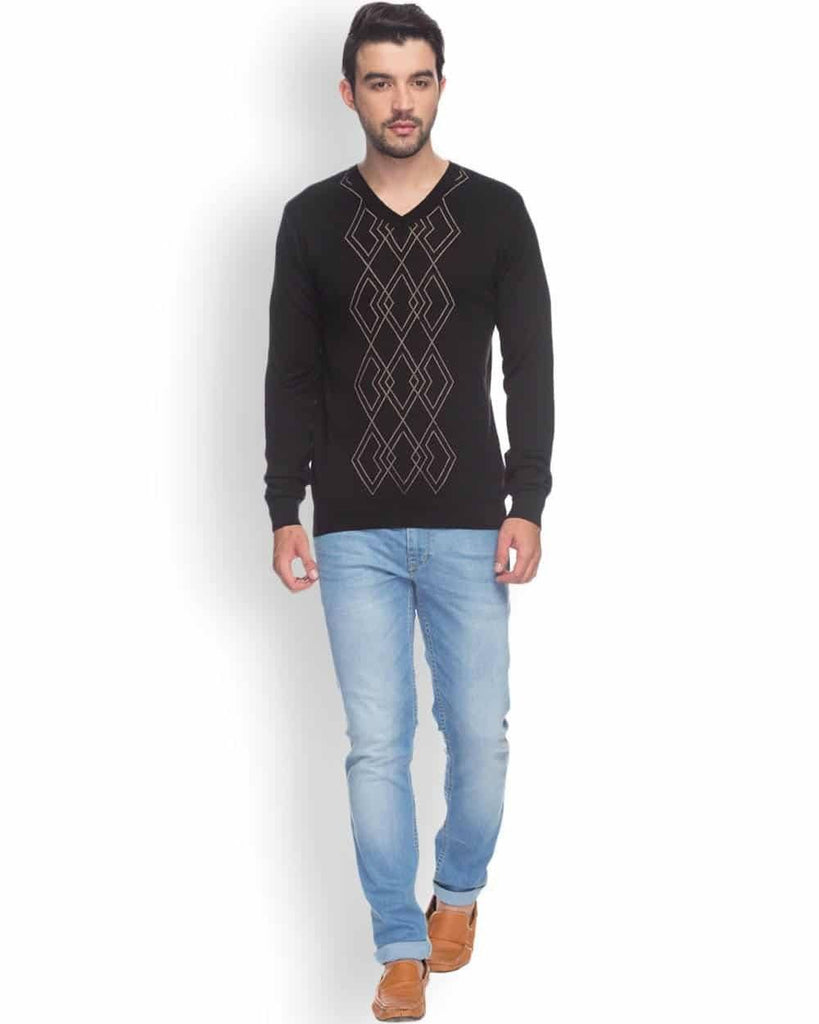 Raymond  Black Printed Sweater
