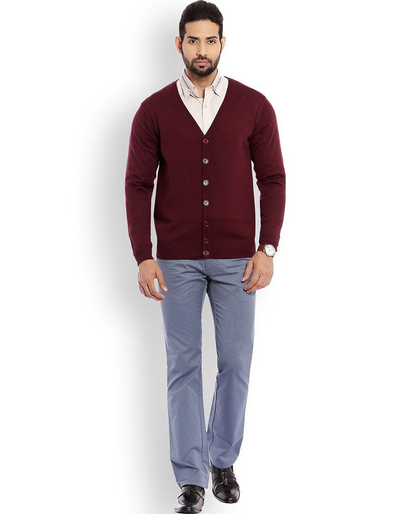 Raymond Dark Maroon Solid Sweater