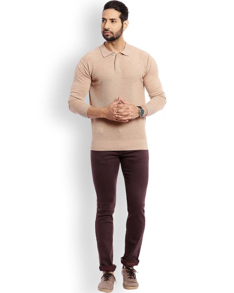 Raymond Medium Fawn Solid With Elbow Patch Sweater
