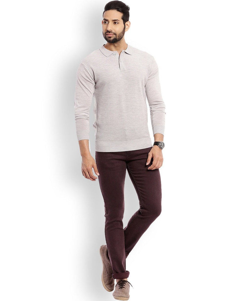 Raymond Medium Grey Solid With Elbow Patch Sweater