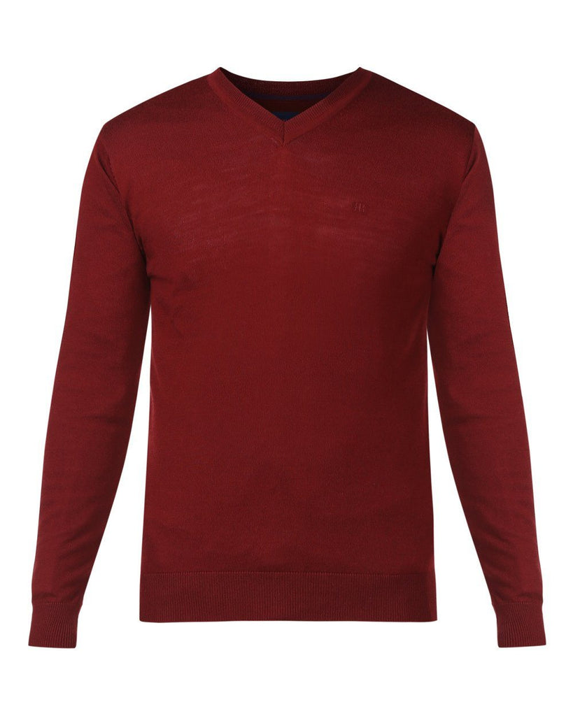 Raymond Maroon Regular Fit Sweater