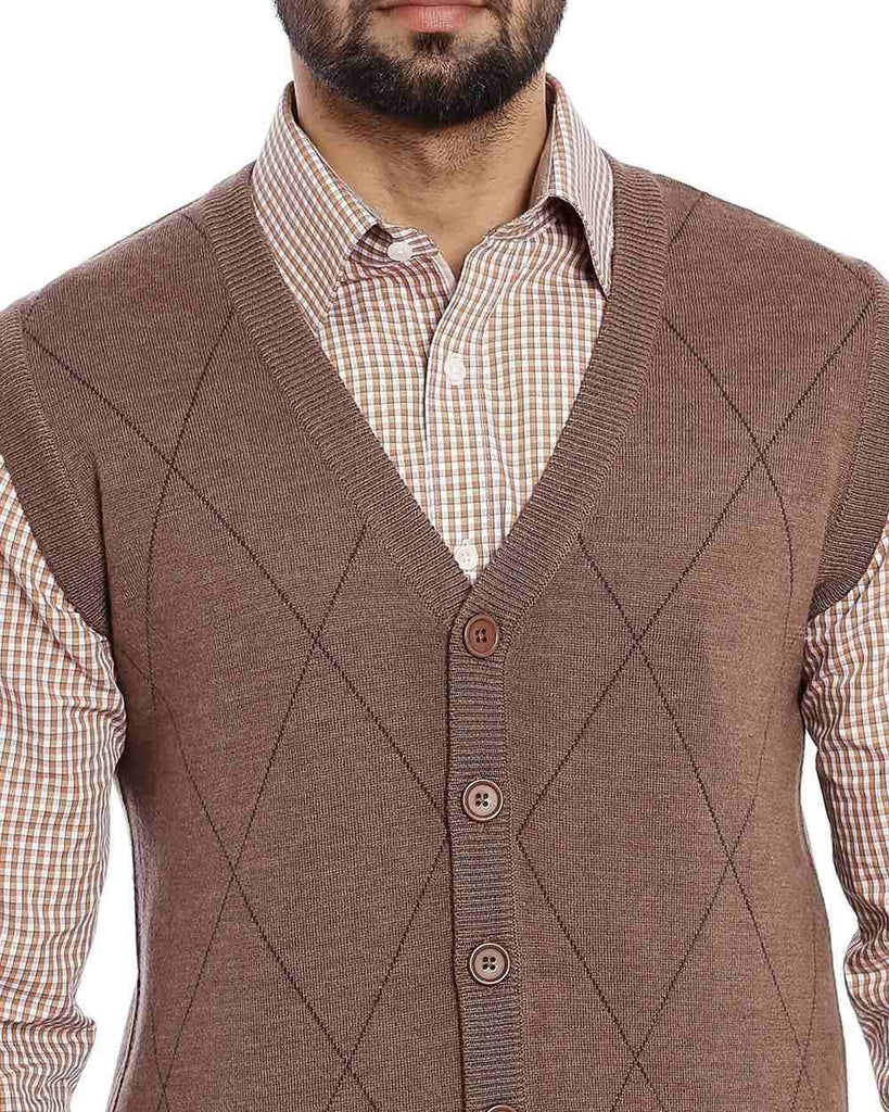 Raymond Medium Brown Checkered Sweater