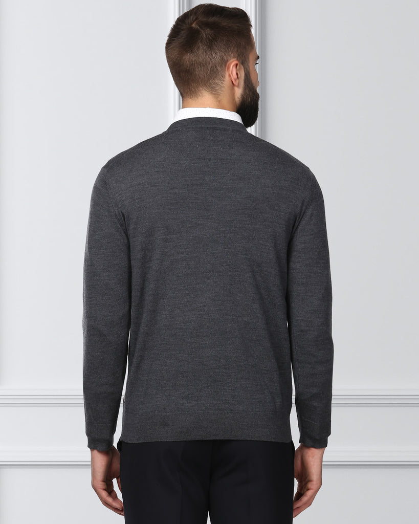 Raymond Dark Grey Contemporary Fit Sweater