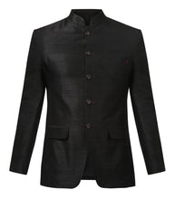 Khadi by Raymond Black Regular Fit Bandhgala Jacket