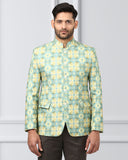 Khadi by Raymond Green Regular Fit Bandhgala Jacket