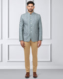 Khadi by Raymond Blue Regular Fit Bandhgala Jacket