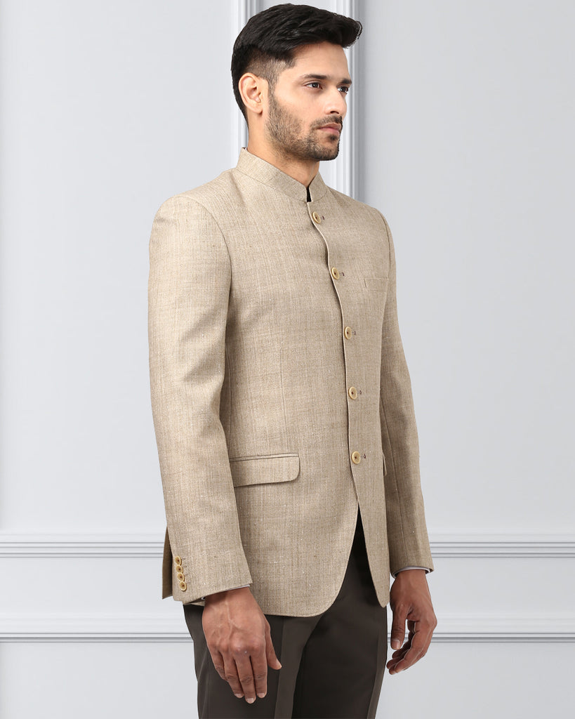 Khadi by Raymond Fawn Regular Fit Bandhgala Jacket