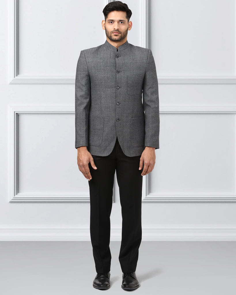 Khadi by Raymond Grey Regular Fit Bandhgala Jacket