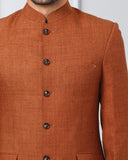Khadi by Raymond Brown Regular Fit Bandhgala Jacket