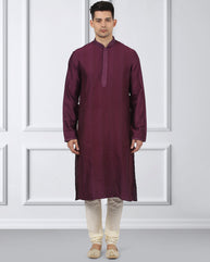Ethnix Purple Regular Fit Kurta With Churidar