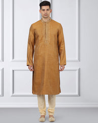 Ethnix Orange Regular Fit Kurta With Churidar
