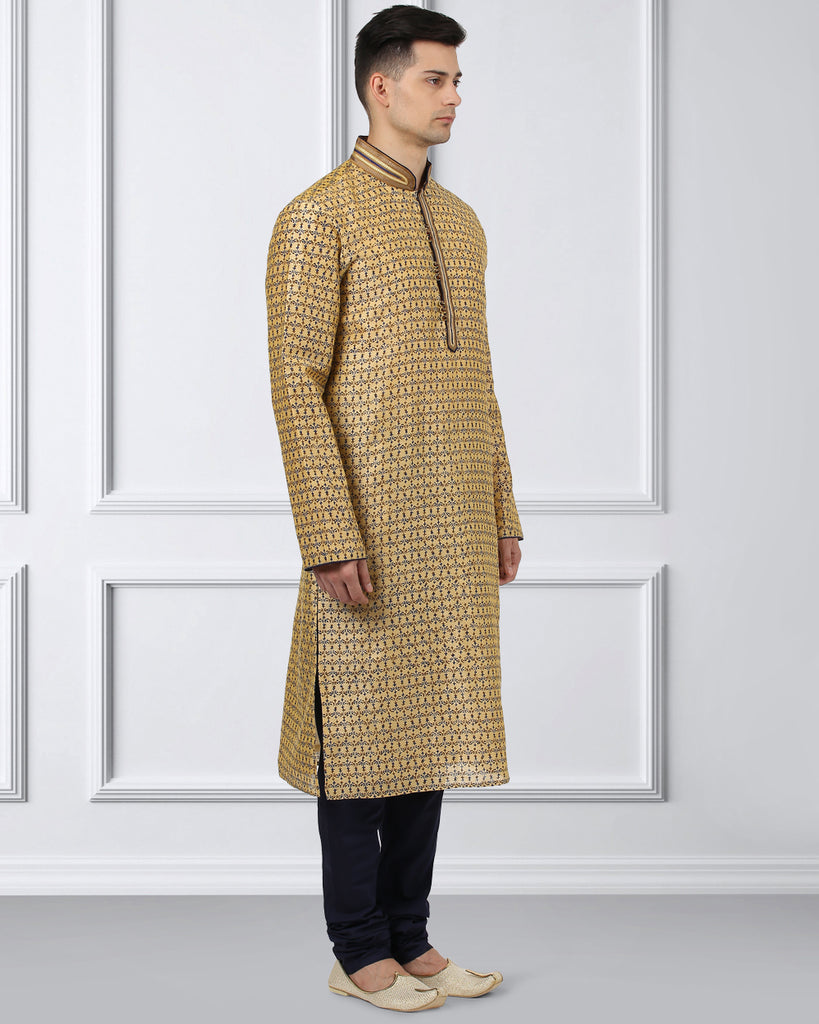 Ethnix Yellow Regular Fit Kurta With Churidar