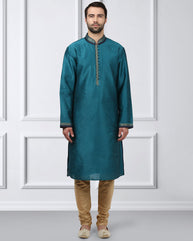 Ethnix Green Regular Fit Kurta With Churidar