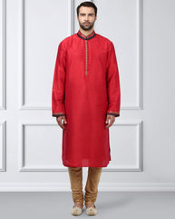 Ethnix Red Regular Fit Kurta With Churidar