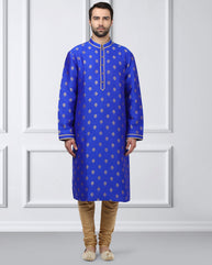 Ethnix Blue Regular Fit Kurta With Churidar