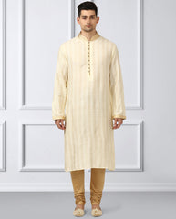 Ethnix White Regular Fit Kurta With Churidar