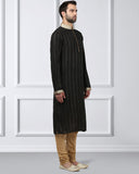 Ethnix Black Regular Fit Kurta With Churidar