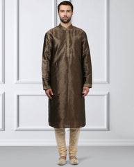 Ethnix Brown Regular Fit Kurta With Churidar
