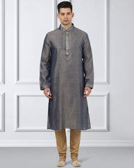 Ethnix Grey Regular Fit Kurta With Churidar