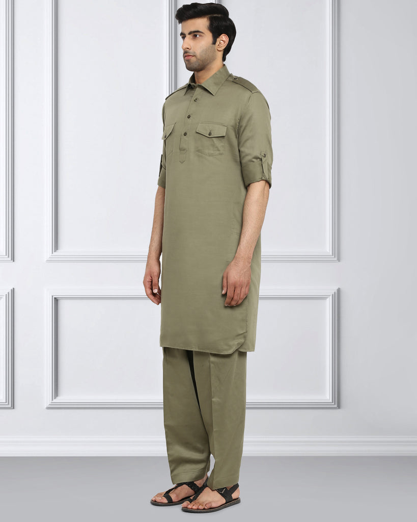 ethnix Green Regular Fit Kurta