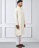 Khadi by Raymond White Regular Fit Kurta Set