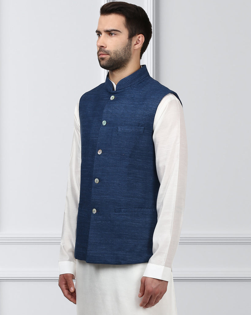 Ethnix Navy Regular Fit Bundi