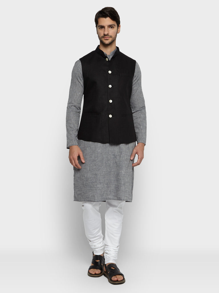 ethnix Black Regular Fit Bundi