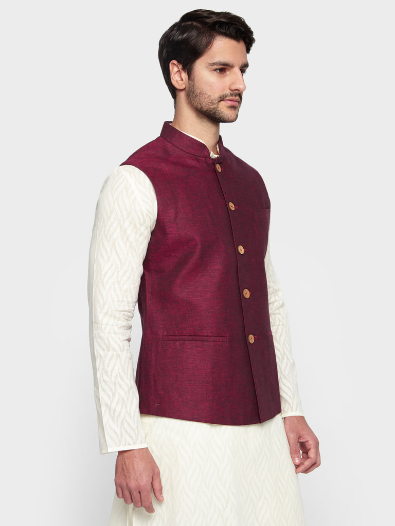 ethnix Maroon Regular Fit Bundi