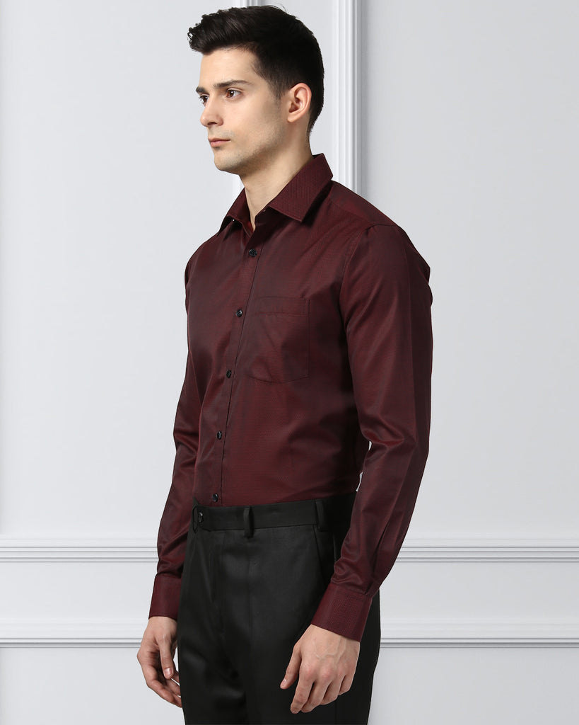 Next Look Dark Maroon  Slim Fit Shirt