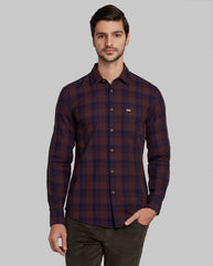 Parx Medium Brown Slim Fit Shirt