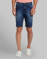 Parx Dark Blue Regular Fit Shorts