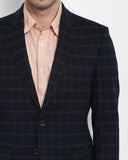 Parx Dark Blue Regular Fit Blazer