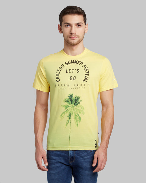 Parx Light Yellow Regular Fit T-Shirt