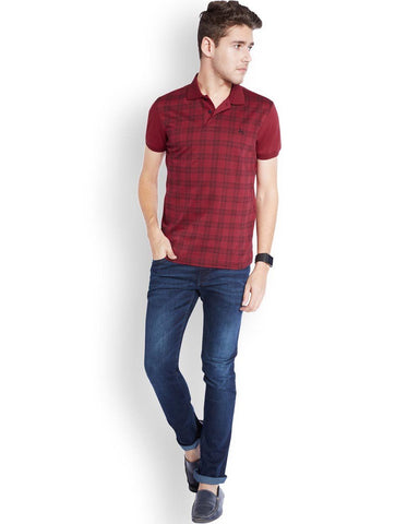 Parx Dark Maroon Regular Fit T-Shirt