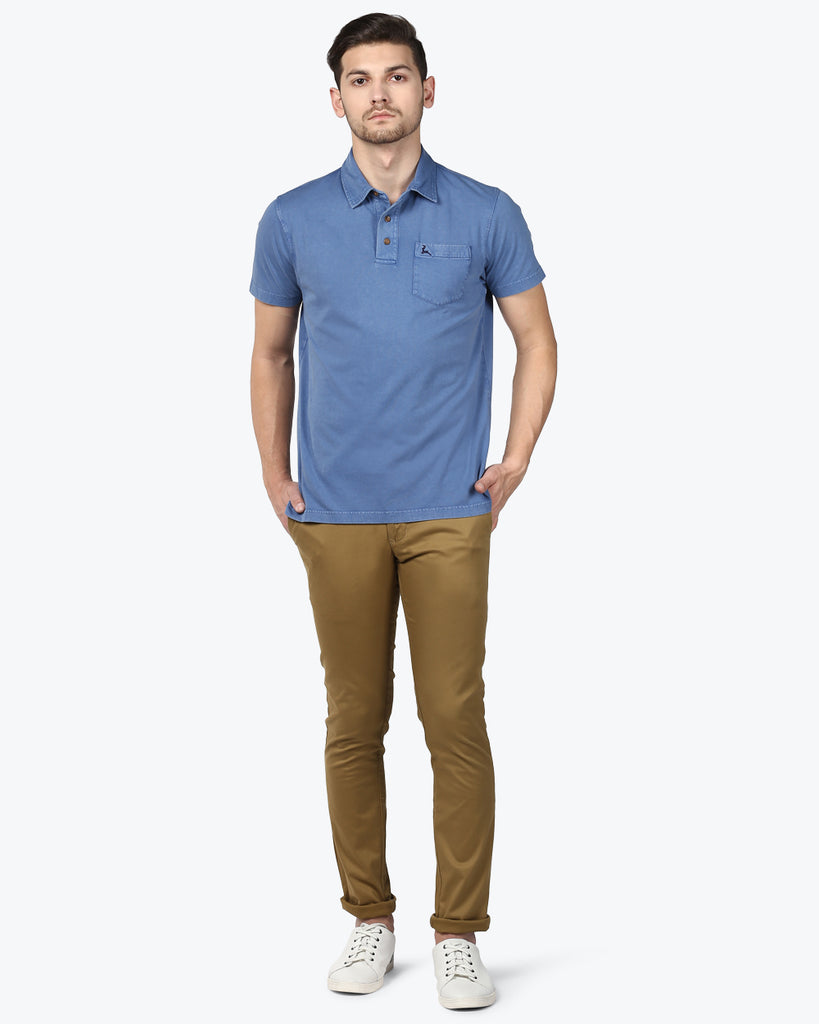 Parx Dark Blue Regular Fit T-Shirt