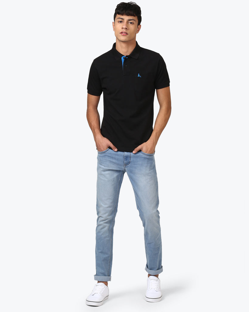 Parx Black Regular Fit T-Shirt